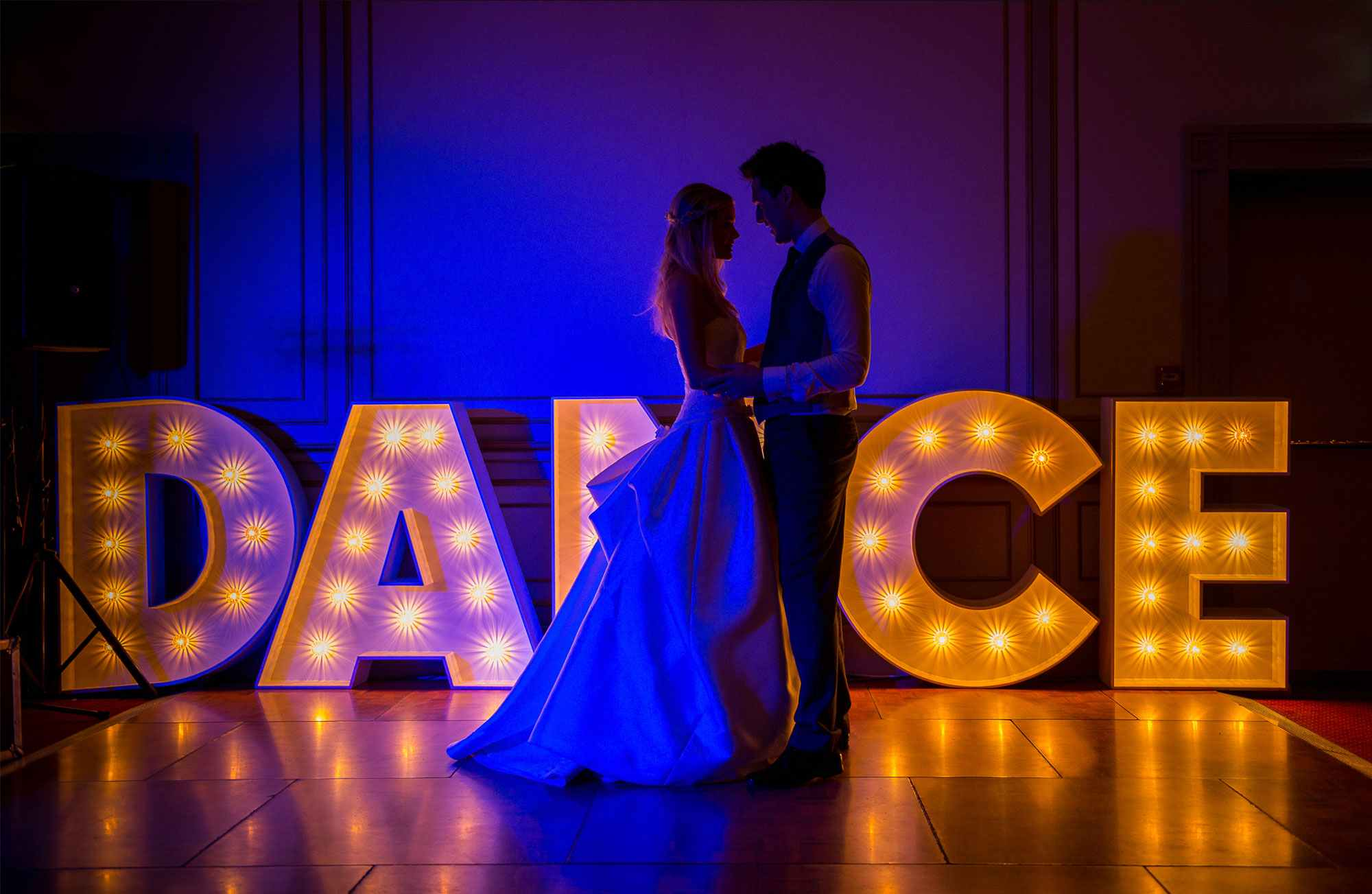 Luxury wedding venue Hull East Yorkshire dance floor with light up letters in background