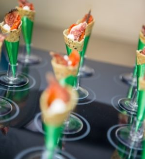 Rise Hall | Dine Venues | Food | Canapes | Tomato & Goats Cheese Cones